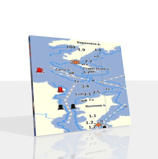 карта глубин псковского озера